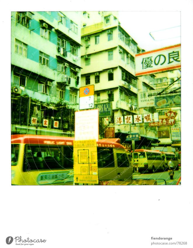 Street China Signs and labeling Bus Foreign Polaroid Hongkong Crash Traffic jam