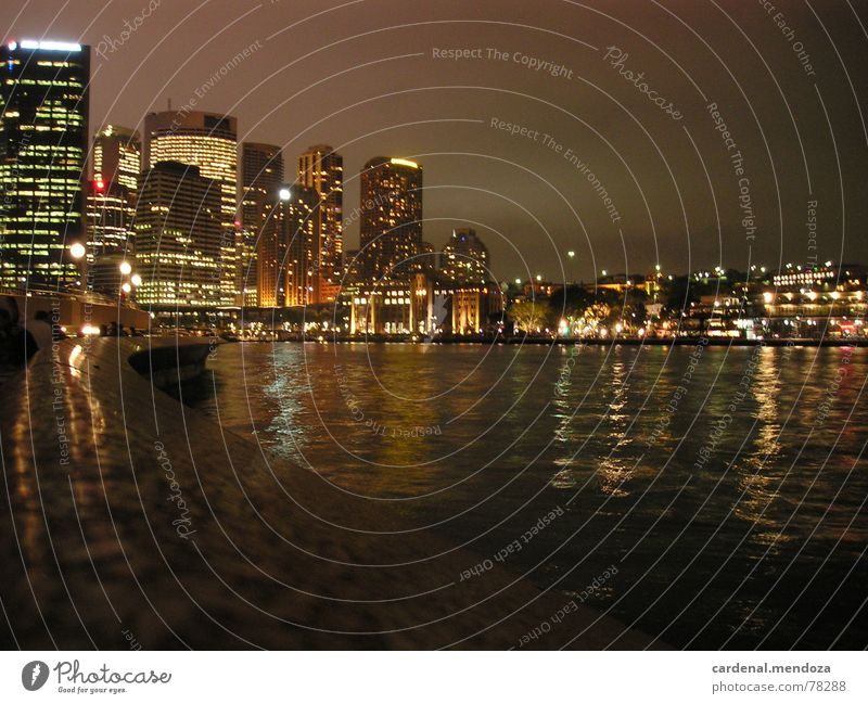 Sydney Harbour at night Harbour Bridge Night Window House (Residential Structure) High-rise Reflection Waves Wall (barrier) Jetty Town Downtown Australia