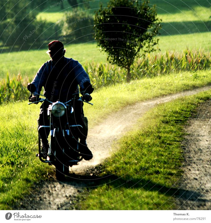 See you Footpath Grass Dust Green Motorcycle Rear seat Light Driving Split Maize field Rural Tree Memory Background picture puch pillion Floodlight Shadow
