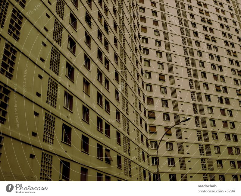 Sky City House (Residential Structure) Life Window Architecture Building Work and employment Flat (apartment) Concrete Design High-rise Gloomy