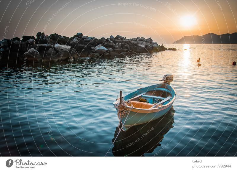 Lonely nut shell Leisure and hobbies Vacation & Travel Freedom Aquatics Boating trip Nutshell Water Sky Cloudless sky Horizon Beautiful weather Waves Coast Bay