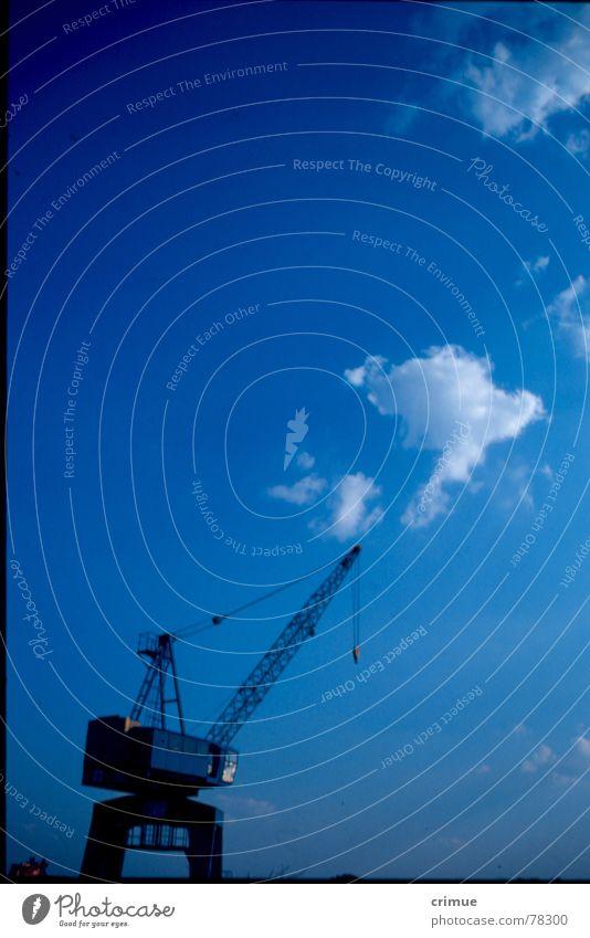 Blue Crane Clouds Dockside crane Stralau Rummelsburg Sky Harbour Industrial Photography