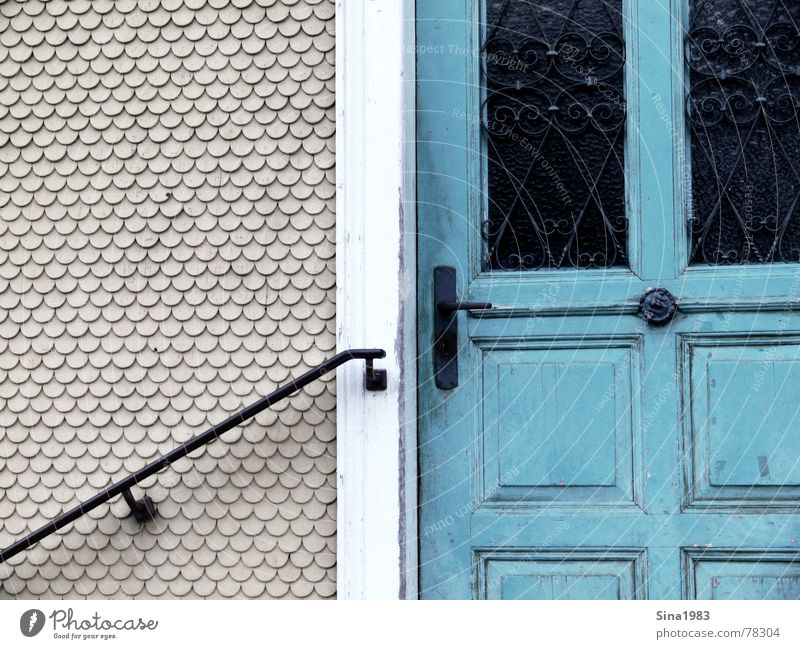 Old Green Wall (building) Door Turquoise Handrail Ornament Curlicue