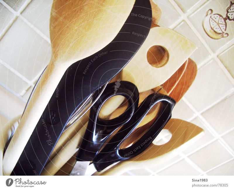 kitchen-top Wooden spoon Kitchen Cooking Wall (building) Interior shot Scissors Tile Bright Colour