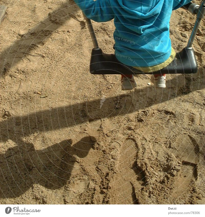 Human being Child Blue Joy Loneliness Playing Movement Park Sand Infancy To hold on Turquoise Footprint Toddler Chain