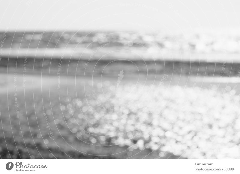 ...water! ...water! Vacation & Travel Denmark Water Observe Esthetic Simple Gray Emotions North Sea Beach Waves Black & white photo Deserted Day Reflection Blur