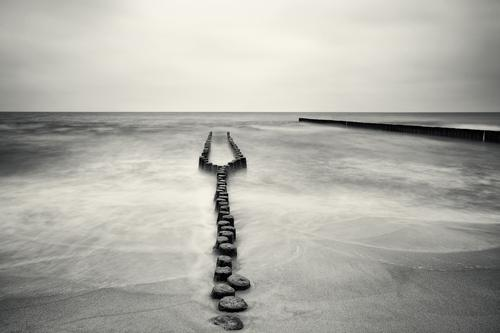 Elective Affinities II Landscape Air Water Sky Clouds Horizon Weather Bad weather Waves Coast Beach Baltic Sea Relationship Wooden stake Black & white photo