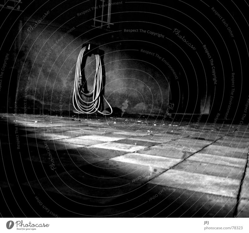 Water Old House (Residential Structure) Dark Death Window Building Fear Floor covering Transience Tile Derelict Shabby Hose Checkered Coil