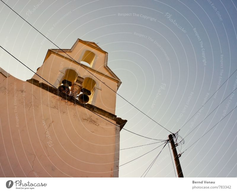 bell wire Sky Beautiful weather Corfu Greece Village Church Wall (barrier) Wall (building) Old Bright Tall Warmth Blue Yellow Black Bell Mediterranean Cable