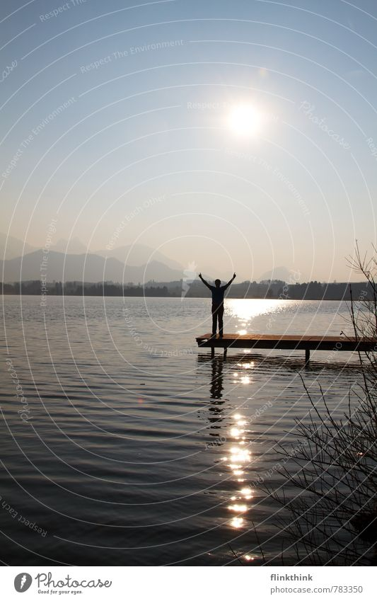 freedom Masculine Young man Youth (Young adults) Man Adults Body Arm 1 Human being 18 - 30 years Landscape Sun Sunrise Sunset Beautiful weather Lakeside Bay