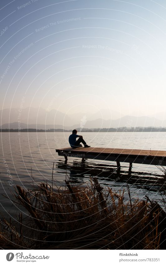 Just relax! Human being Masculine Young man Youth (Young adults) Man Adults Body 1 18 - 30 years Nature Landscape Water Sky Cloudless sky Spring Summer Lakeside