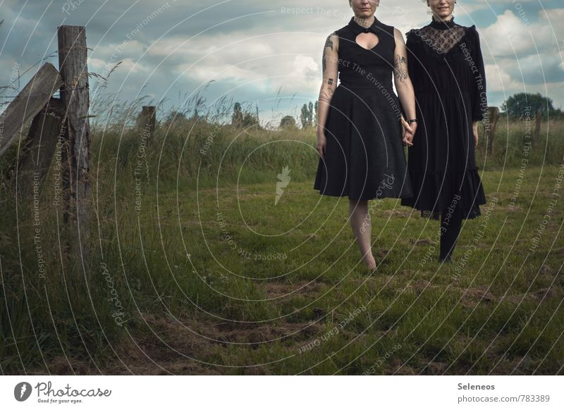 stand Summer Human being Feminine Woman Adults Arm Hand Legs 2 Environment Nature Landscape Sky Clouds Grass Meadow Field Dress Tattoo Together Infinity
