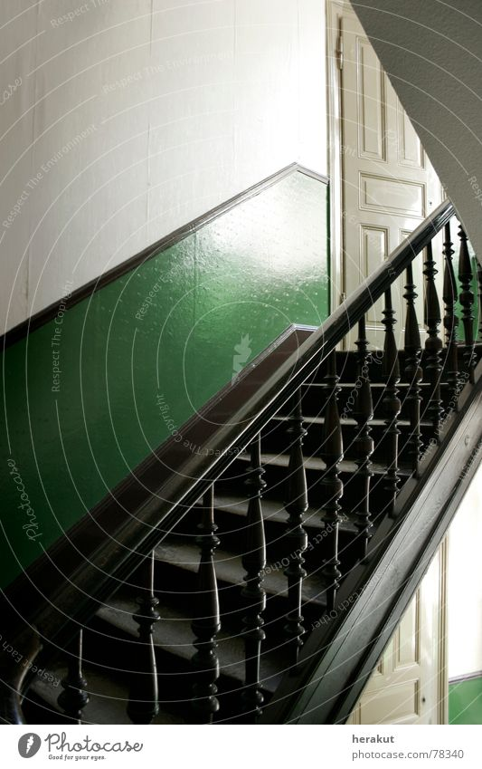 White Green House (Residential Structure) Wall (building) Wood Door Empty Stairs Corner Wallpaper Hallway Go up Staircase (Hallway) Descent