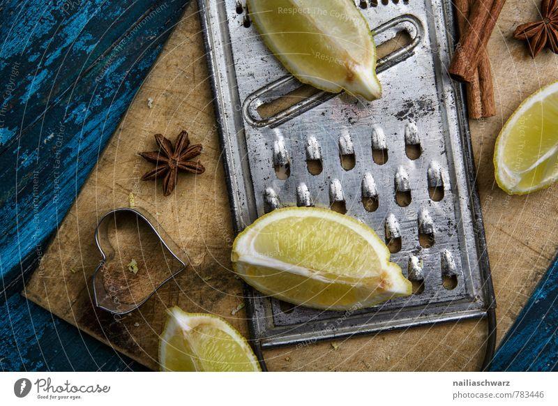 lemons Fruit Herbs and spices Organic produce Vegetarian diet Diet Wood Rust Heart Retro Blue Yellow Colour Lemon Neighborhood entirely lemon quarter Grater