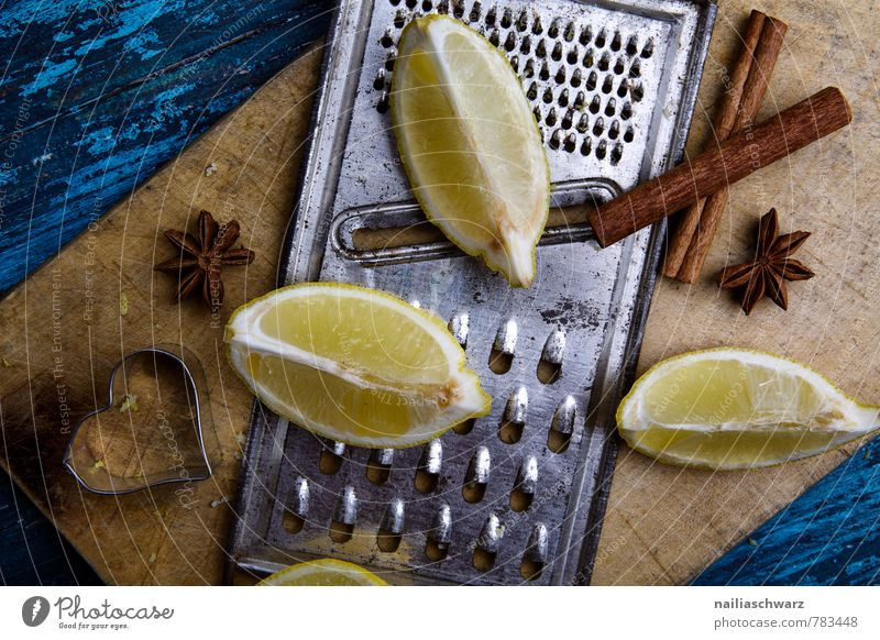 lemons Herbs and spices Wood Rust Heart Fragrance Delicious Natural Retro Sour Blue Brown Yellow Colour Lemon Neighborhood lemon quarter Grater Rasp