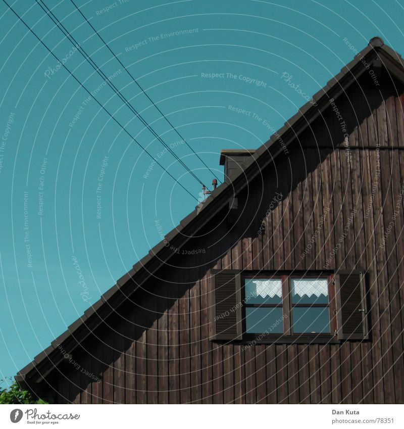 Half and half House (Residential Structure) Wood Window Roof Geometry Homey Gable roof Petit bourgeois Cable Chimney Warmth Sky Freedom 45 degrees 45 fever