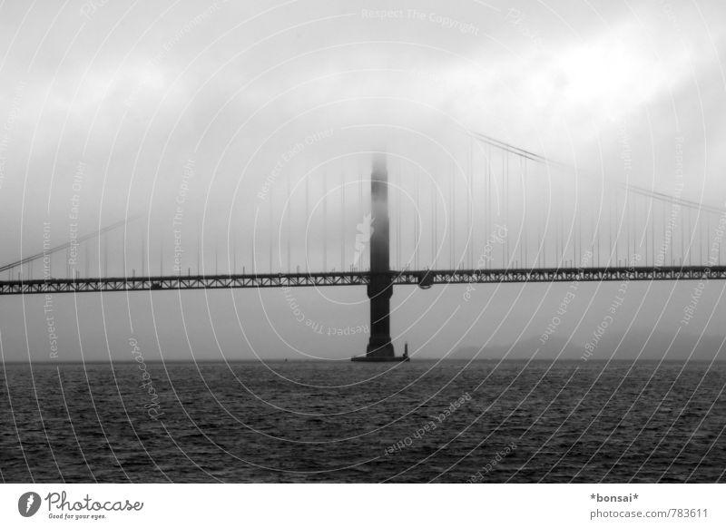 Sky Vacation & Travel Water Clouds Dark Horizon Fog Power Design Contentment Large Tall Bridge Logistics Historic Driving