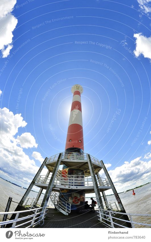 rocket departure station Earth Sky Clouds Horizon Sun Summer Beautiful weather River bank Blankenese Port City Tourist Attraction Lighthouse Discover Glittering