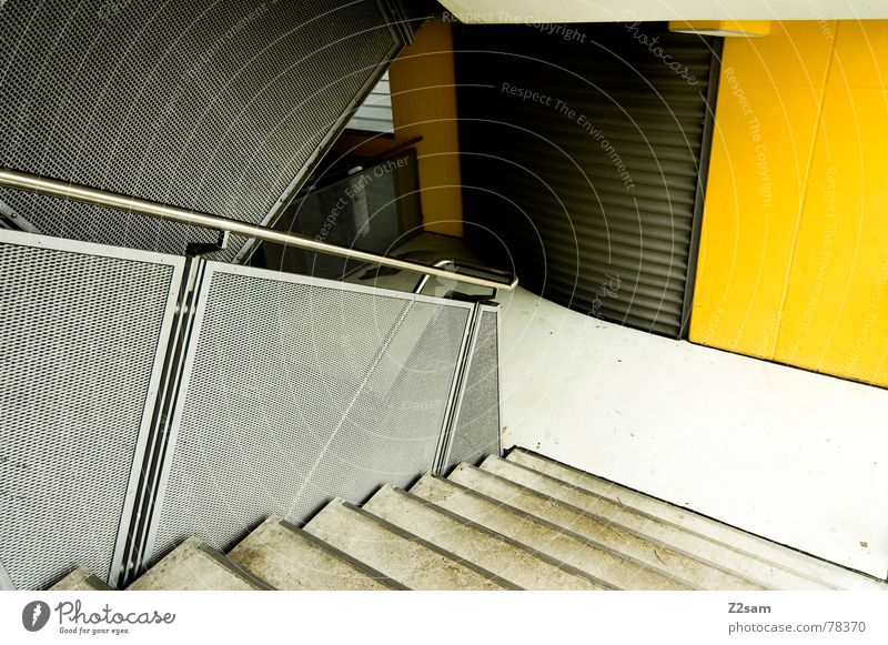 Around the corner Staircase (Hallway) Parking garage Wall (building) Yellow Aluminium Abstract Futurism Force Concrete Corner Stairs Handrail Ladder Metal