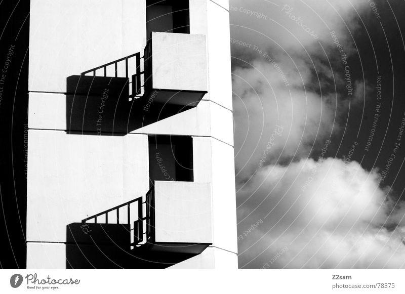 in twos 2 Together Simple Gray scale value Graphic Clouds Sky Window Balcony Black/White Black & white photo Reduce Shadow Tower