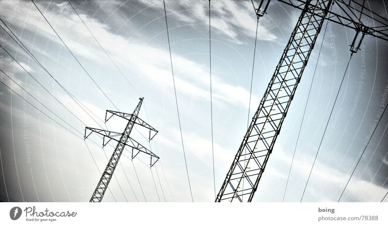 Sky Vacation & Travel Street Industry Energy industry Electricity Cable Steel cable Conduct Electricity pylon Wanderlust Transmission lines