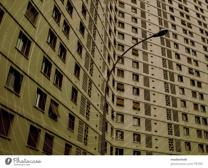 City House (Residential Structure) Life Window Building Work and employment Flat (apartment) Concrete Design High-rise Gloomy Living or residing Store premises