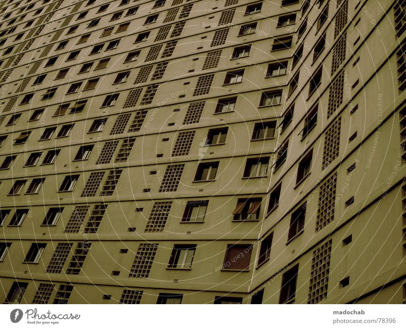 City House (Residential Structure) Life Window Building Work and employment Flat (apartment) Concrete Design High-rise Gloomy Living or residing Grief