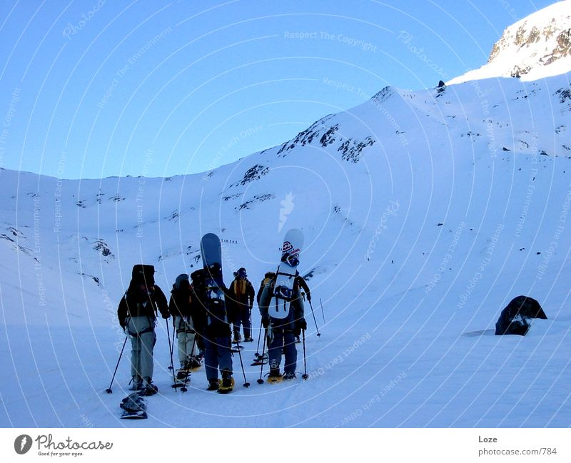 Vacation & Travel Mountain Snow Group Together Friendship Alps Attachment Snowcapped peak Upward Mountaineering Snowscape Snowboard Ski tour Winter's day