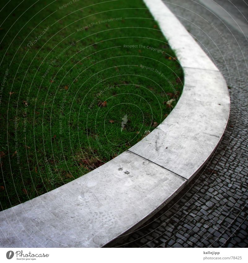 Green Street Grass Stone Lawn Round Sidewalk Cobblestones Paving stone