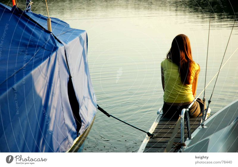 summer Lake Summer Yellow Watercraft Footbridge Wood Sunset Long-haired Feminine Covers (Construction) Nature Blue Rope