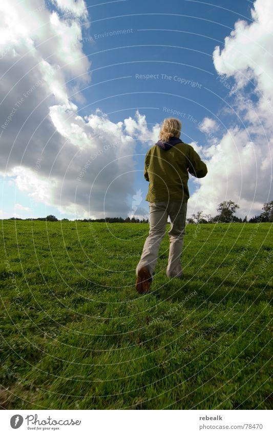 Human being Man Nature Sky Tree Green Blue Plant Summer Joy Clouds Meadow Grass Freedom Landscape Art