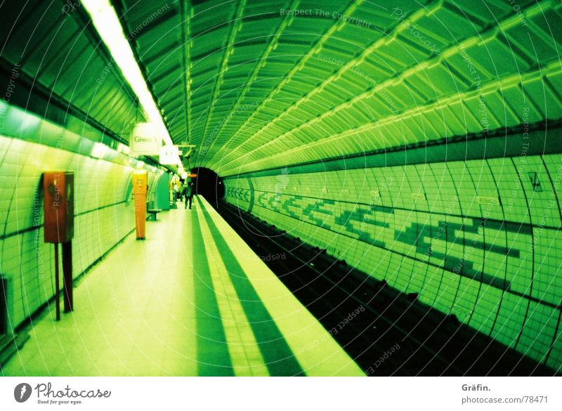 Green Colour Hamburg Station Tunnel Underground Lomography Information Technology Xpro