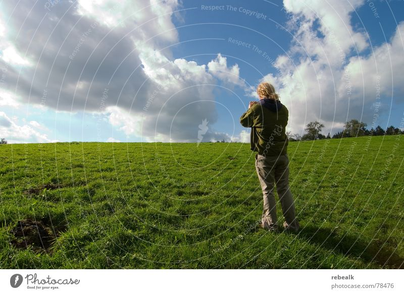 Human being Man Nature Sky Tree Green Blue Plant Summer Joy Clouds Meadow Grass Freedom Landscape Adults