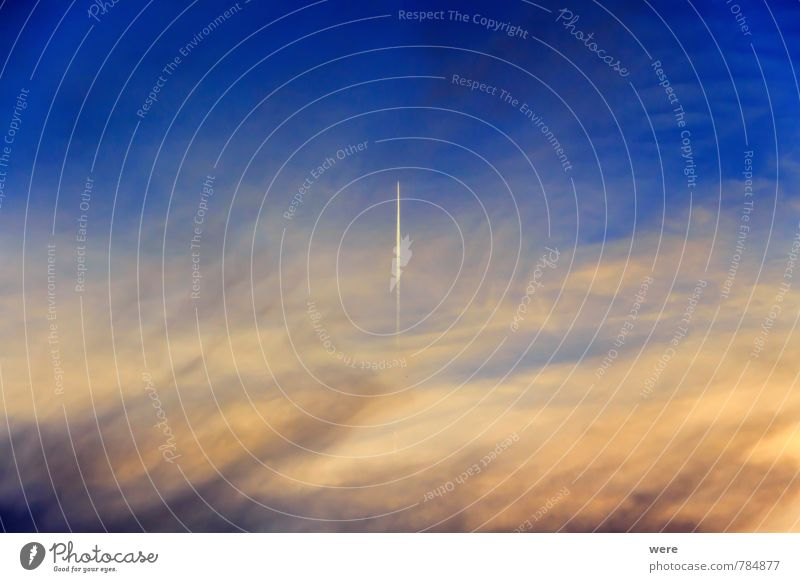 wanderlust Vacation & Travel Technology Environment Beautiful weather Aviation Airplane Flying Fear of flying Vapor trail Wool Colour photo Exterior shot