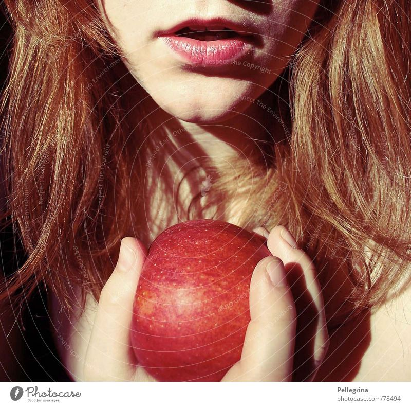 Red Mouth Apple Lips Attempt Alluring Sin Snow White Fairy tale