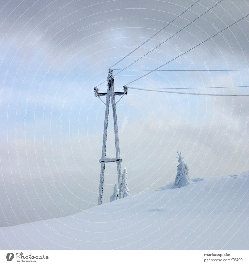 snow stream Cold Untouched Fir tree Snow Alpine Winter Electricity Wood Clouds Ice Alps Girlish Electricity pylon Transmission lines Sky