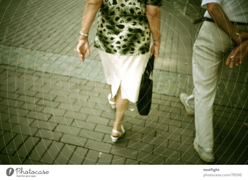 Woman Human being Man Senior citizen Style Couple Shopping Anonymous Pedestrian Paving stone Partially visible Section of image In transit Old fashioned Lomography Companion
