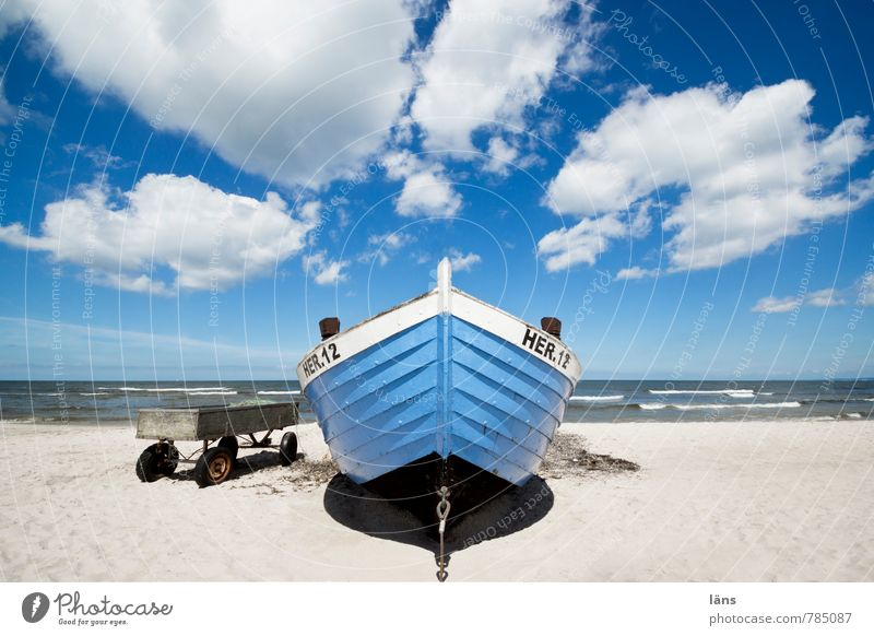 you seek the sea l HER12 Vacation & Travel Tourism Trip Freedom Beach Ocean Fishery Fishing boat Fisherman Elements Sand Water Sky Clouds Coast Baltic Sea
