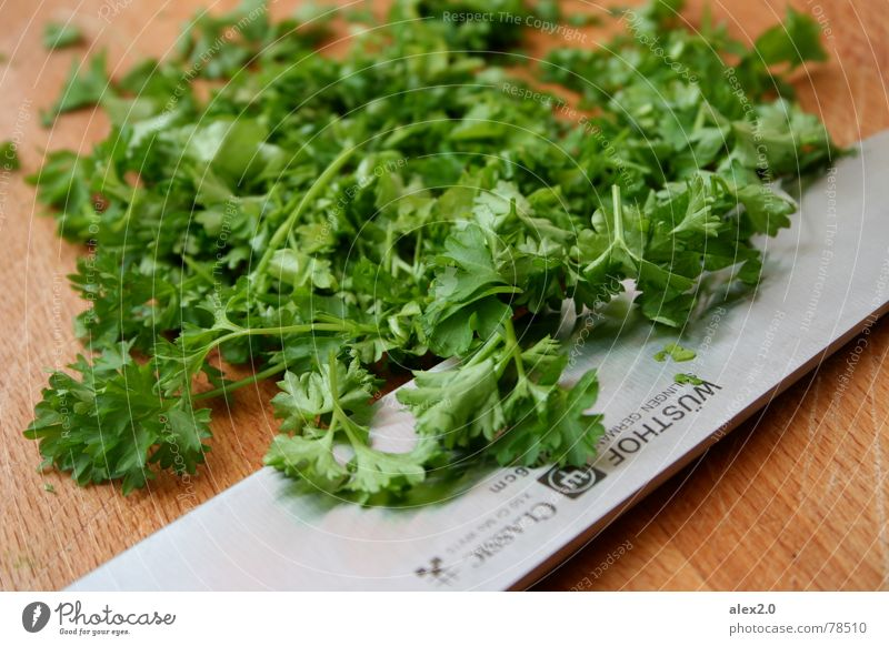 Green Nutrition Cooking & Baking Kitchen Vegetable Herbs and spices Delicious Steel Wooden board Silver Knives Chopping board Preparation Blade Parsley Refine