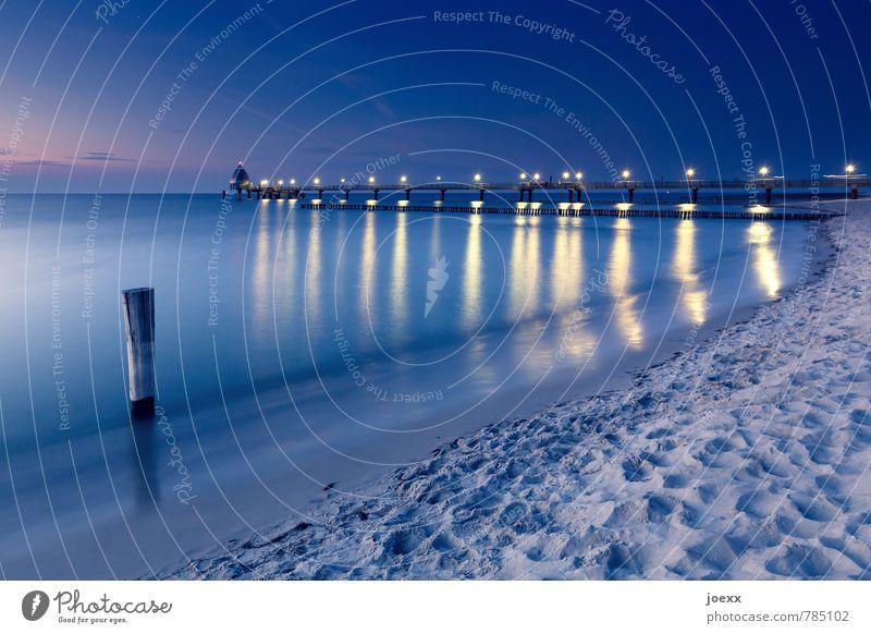 Where does your heaven begin? Far-off places Summer vacation Beach Ocean Water Sky Beautiful weather Coast Baltic Sea Sea bridge Infinity Blue Yellow Black