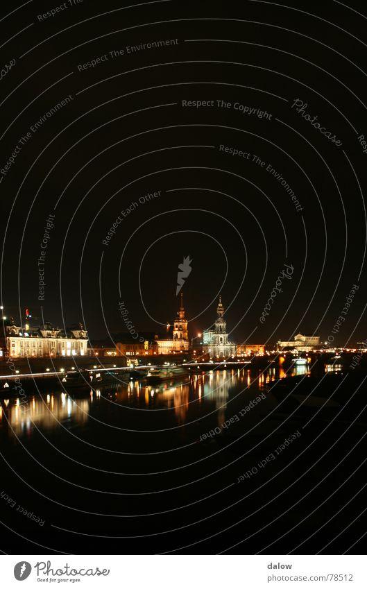Dresden night skyline Elbufer Night Town Skyline Light River Elbe