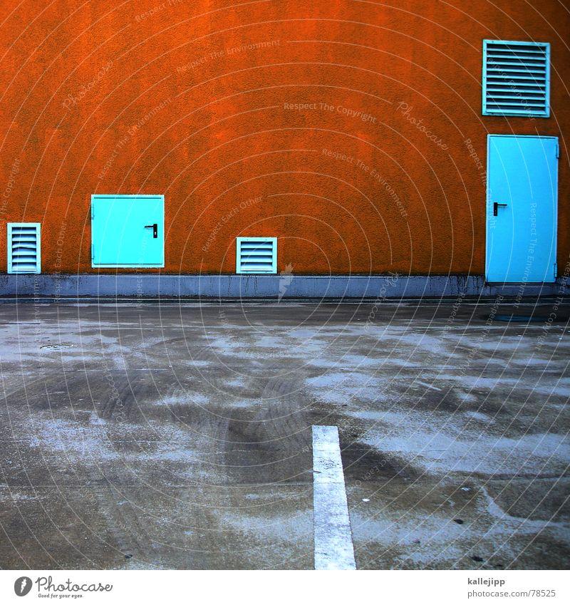 Wall (building) Wall (barrier) Orange Road traffic Door Transport Asphalt Stripe Gate Turquoise Entrance Traffic infrastructure Parking lot Door handle Pavement Parking garage