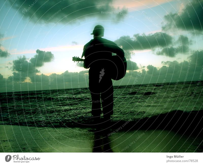 Human being Man Water Ocean Beach Clouds Playing Music Lake Sand Waves Guitar