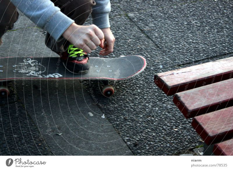 BEFORE THE JUMP Driving Jump Hop Beginning Shoelace Knee London Underground Skateboarding Crooked Expectation Nerviness Exciting Tension Asphalt Green Hand