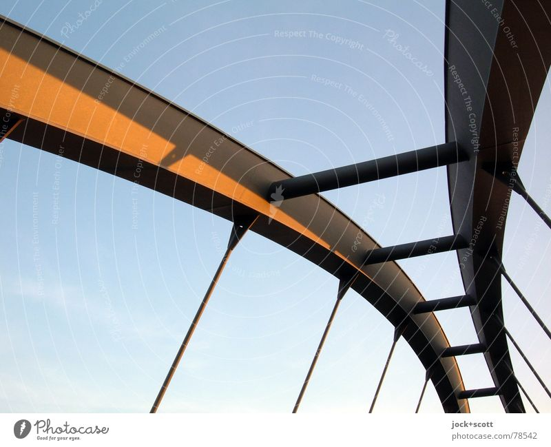 overstretch Architecture Lanes & trails Above Metal Elegant Power Contentment Modern Perspective Tall Transience Bridge Railroad Thin Cloudless sky