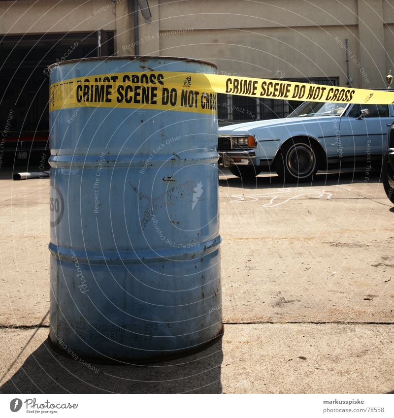 crime scene do not cross Criminality Seventies Vehicle Barbecue (apparatus) Radiator  grille Style Baby blue USA Cordon tape Retro Transport Oil Car Floodlight