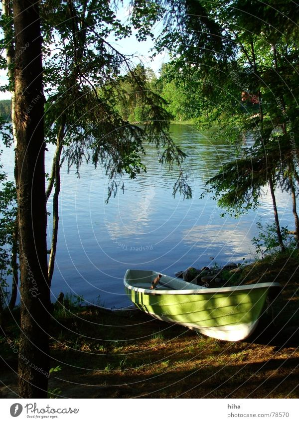 Are we going?    - Boat at the lake Lake Watercraft Fishing boat Finland Forest beach Iisalmi Lakeside niemisenranta green boat boat at the lake