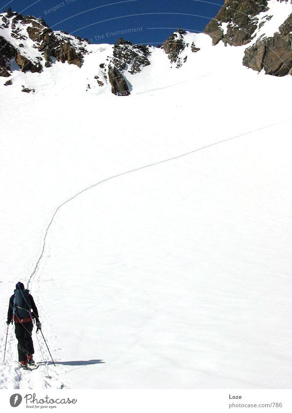 Mountain Snow Footpath Alps Tracks Upward Snowscape Leader Blue sky Steep Forwards Mountain ridge Winter mood Ski tour Winter's day Groundbreaking