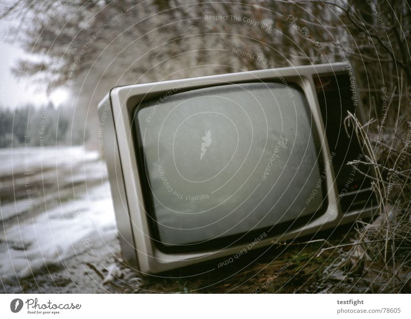 Old Winter Cold Snow Gray Gloomy TV set Television Broken Trash Theatre Screen Cinema Old fashioned Watching TV