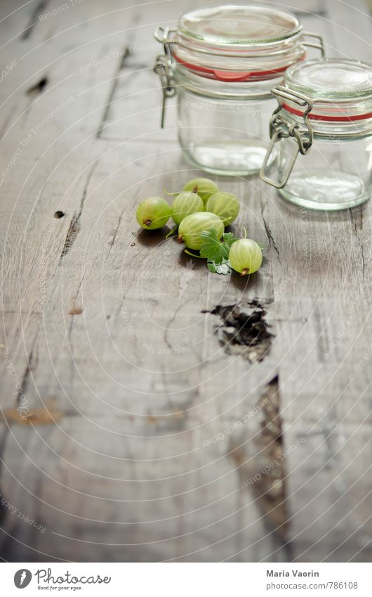 Preparation 5 Food Fruit Nutrition Fresh Juicy Sour Sweet Green Gooseberry Jam jar Preserving jar Wooden table Berries Colour photo Interior shot
